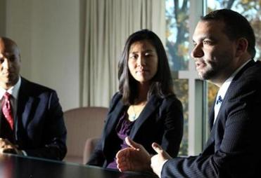 John Barros (left), Michelle Wu, and Felix G. Arroyo count education, opportunity, and fighting poverty among the priorities that should be included in Mayor-elect Martin J. Walsh's agenda.