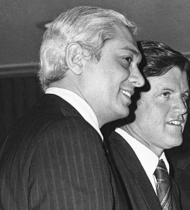 Edmund M. Reggie escorted Edward Kennedy during the senator's visit to Louisiana for a union conference.