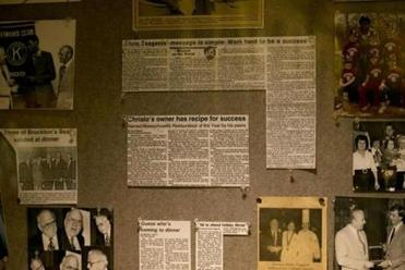 The restaurant had news clippings and photos of Christo Tsaganis, founder of the restaurant.