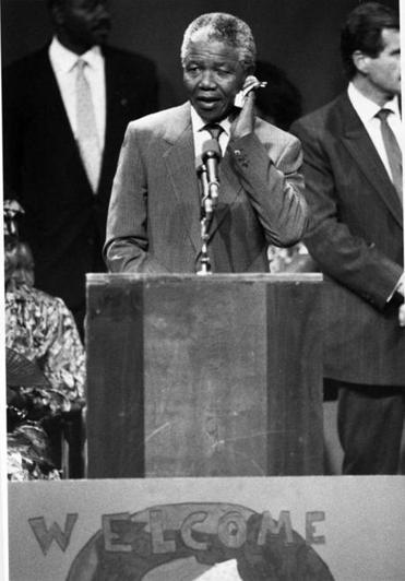 Nelson Mandela wiped away perspiration during his June 1990 address at Madison Park High School in Roxbury.