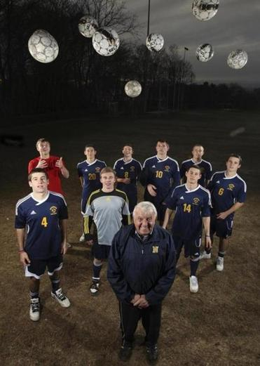 Needham boys soccer coach Don Brock, in his 50th season on the sidelines, led his team to a 21-1-3 record this year.