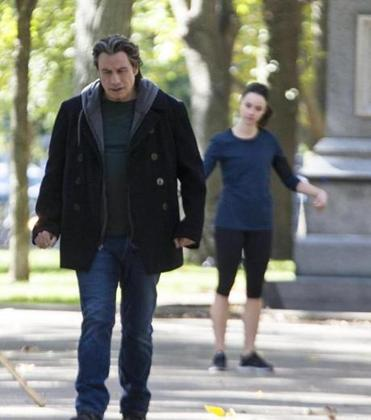 "John Travolta and costar Abigail Spencer filmed a scene from ""The Forger"" on the Commonwealth Mall earlier this year."