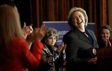 Hillary Rodham Clinton, who was honored for her work in women's rights, said she hasn't decided on a presidential run.