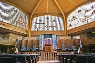 The sanctuary inside Swampscott's Temple Israel before demolition.