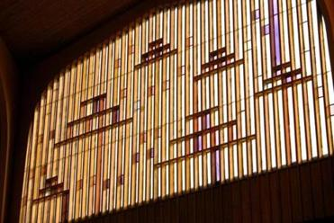 The stained glass inside Temple Israel's sanctuary in Swampscott was destroyed in the recent demolition.