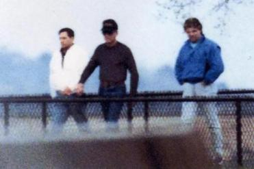 Stephen Flemmi, James 'Whitey' Bulger, and Kevin Weeks were photographed by DEA surveillance in South Boston in 1989.