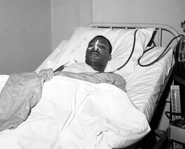 Martin Luther King Jr. recovering from surgery Sept. 21, 1958.