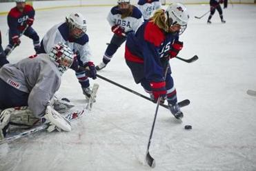 Team members practice at Edge Sports Center in Bedford.
