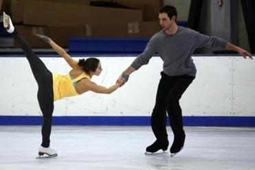 "Marissa Castelli and Simon Shnapir practice a routine to Santana's ""Black Magic Woman."""