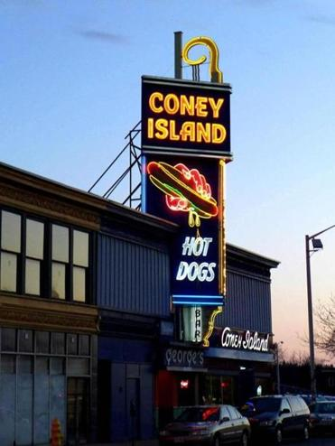 At George's Coney Island in Worcester, the signature neon sign went up in 1940.