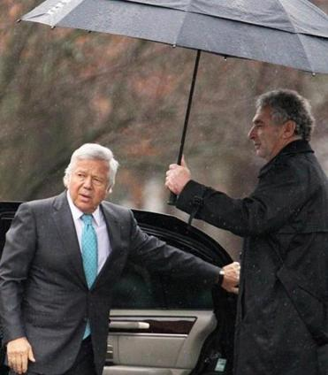 New England Patriots owner Robert Kraft  attended  the service.