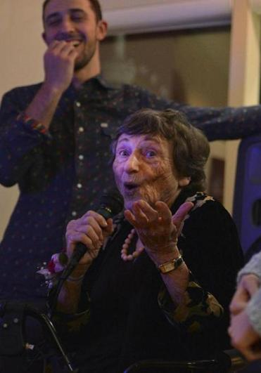 Anita Garlick performed her stand-up routine at her 90th birthday party in January.