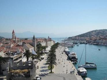 Looking over the waterfront of Trogir, a UNESCO World Heritage Site;