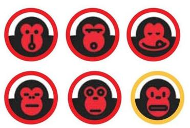 Five of the rejected monkey faces and the eventual winner.