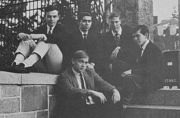Ernest Moniz, second from left in the top row, posed with the staff of the Cosmos, the science journal of Boston College.