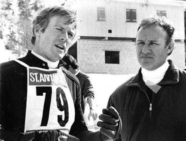 "Robert Redford (left) and Gene Hackman in ""Downhill Racer.'"