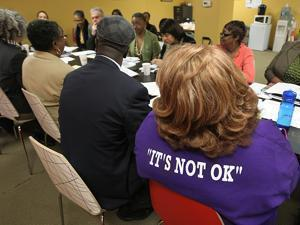 Members of Mothers for Justice and Equality met with Boston police and clergy Monday to discuss gun violence..
