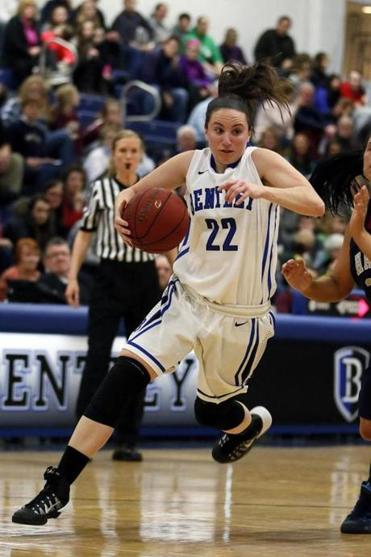 Courtney Finn leads the Bentley Falcons in minutes played and rebounds per game and is second in points.
