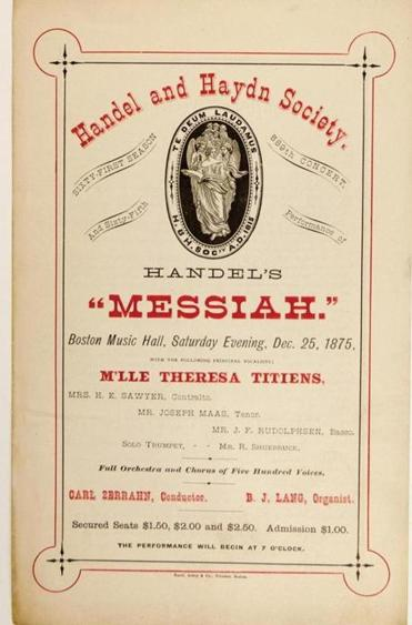 "An archival poster for an H&H performance of Handel's ""Messiah"" on Dec. 25, 1875."