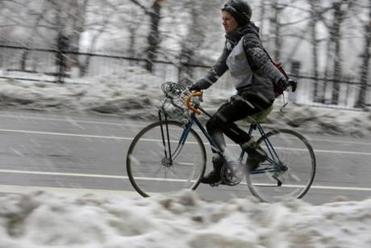 A a cyclist braved Tremont Street in Boston.