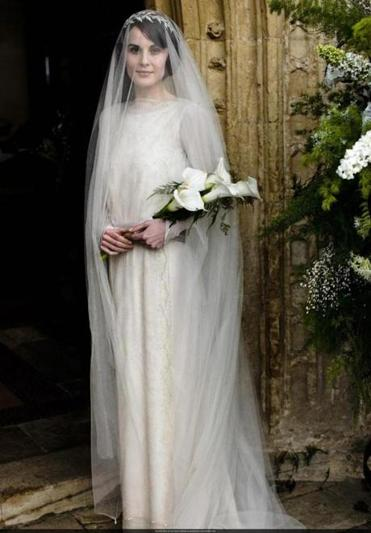 Lady Mary Crawley (Michelle Dockery) in her wedding outfit.