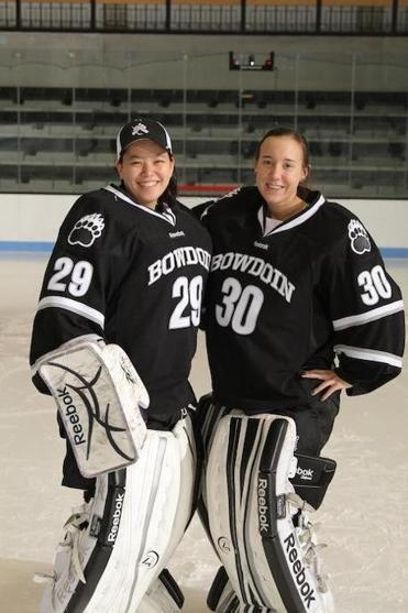 Bowdoin goalies: freshman Lan Crofton, of Milton (left), and Beth Findley, from Hingham, have a strong friendship.