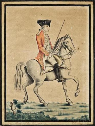 Paul Revere's watercolor of British Marine Major John Pitcairn is expected to bring $20,000-$30,000.