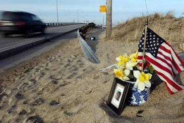 A memorial to Elise Bouchard sat near a Seabrook bridge earlier this month. The 52-year-old Danvers woman was killed, along with Pam Wells.