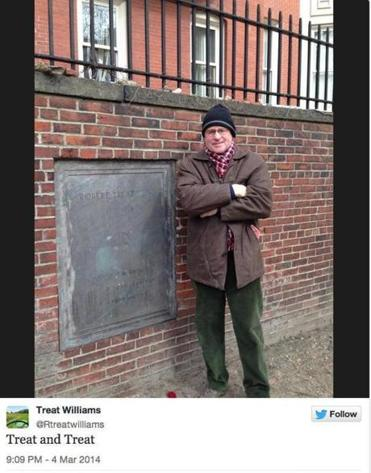 Actor Treat Williams took a picture of himself with a plaque dedicated to Declaration of Independence signer Robert Treat Paine.