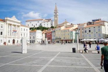 The main square in Piran, on the Adriatic, was once a Venetian outpost.