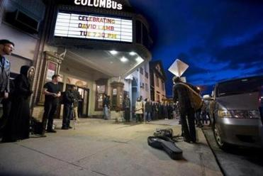 The scene outside the Columbus Theatre on Tuesday.