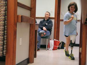 Jane dashed down the hallway of United Prosthetics in Dorchester, elated to learn that she would be getting a special prosthesis that could be used for running.