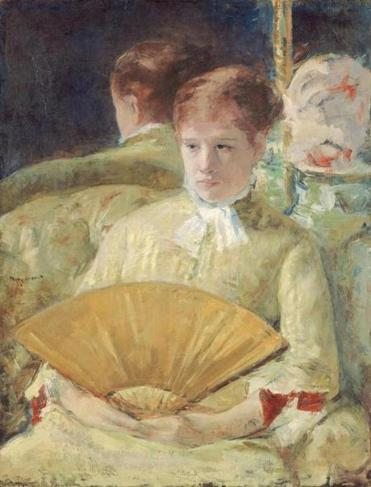 "Mary Cassatt's circa 1878-79 oil on canvas ""Woman With a Fan,"" on view in the exhibit  ""Degas/Cassatt"" at the National Gallery of Art. It explores Cassatt's influence on her friend and peer Edgar Degas."