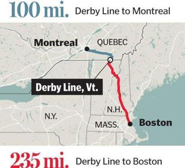 Choosing Sides On BruinsCanadiens At The Border The Boston Globe - Quebec us border map