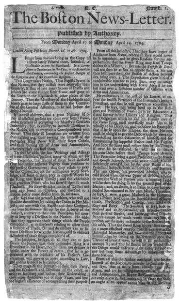 The Boston News-Letter, from April 1704.