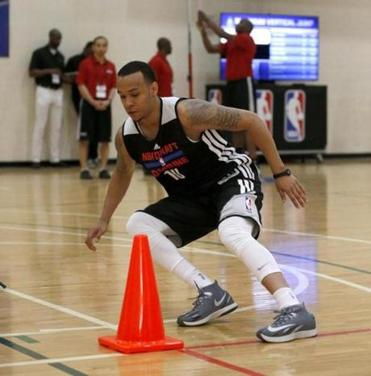 Shabazz Napier goes through an agility drill Friday at the NBA Draft combine in Chicago.