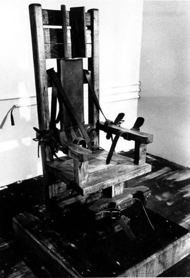 Undated photo of an electric chair at the Tennessee State prison in Nashville.