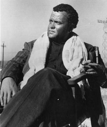 "Orson Welles during shooting of ""Othello,"" which took place over multiple years at multiple sites with multiple castings."