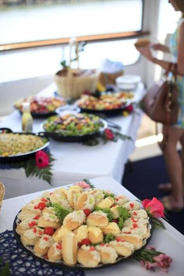 Brunch offerings, catered by Henry's of Beverly, aboard the Hannah Glover.