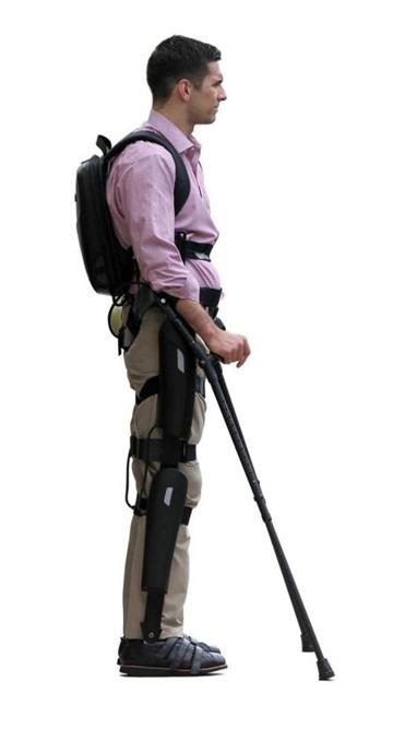ReWalk uses motors and braces for upright walking.