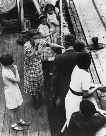 Jewish refugees on board the German liner St. Louis in 1939 were denied entry to the United States and Cuba, and were forced back to Europe.