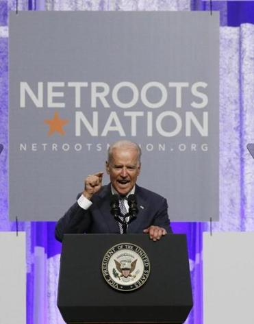 Vice President Joe Biden addressed Democratic activists at Netroots Nation in Detroit on Thursday.