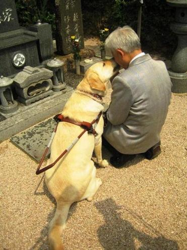 Takashi Tanemori, accompanied by his guide dog Suki, visited his family's gravesite in Japan in 2005.  In an undated family photo, Tanemori is the toddler in the middle; his sister Satsuko is on the right. His