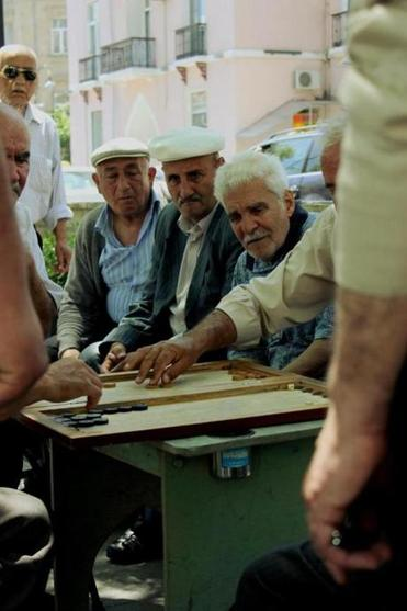 Domino players in Akhundov Square.