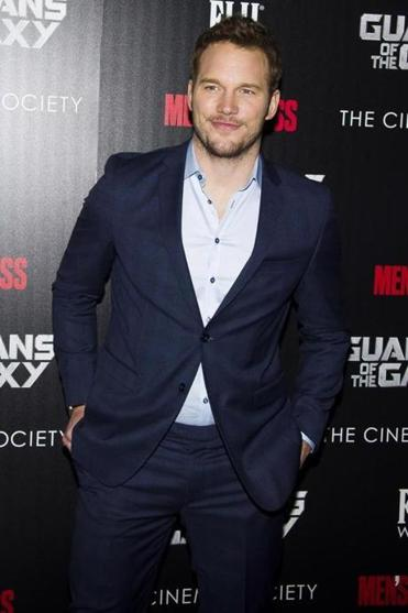 "Pratt at a ""Guardians of the Galaxy"" screening (above) and in the film."