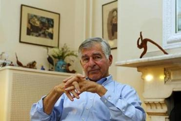 Brookline, Massachusetts -- 08/13/2014-- Former Governor Michael Dukakis talks at his home in Brookline, Massachusetts August 13, 2014. Jessica Rinaldi/Globe Staff Topic: 14Dukakis Reporter: Akilah Johnson