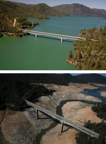 In the top photo, the Enterprise Bridge passes over full water levels at Lake Oroville in California on July 20, 2011. In the second photo, taken Aug. 19 of this year, the lake is nearly dry after three years of severe drought.