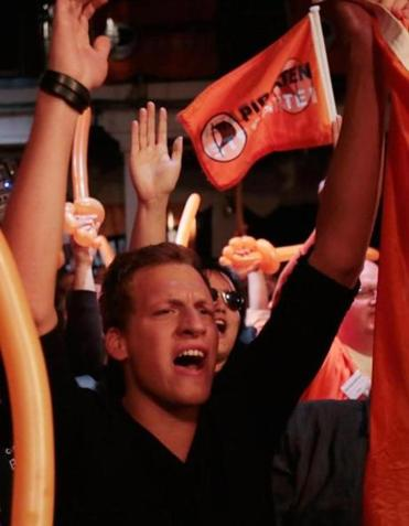 Members and supporters of Germany's Pirate Party reacted to poll results in 2012.