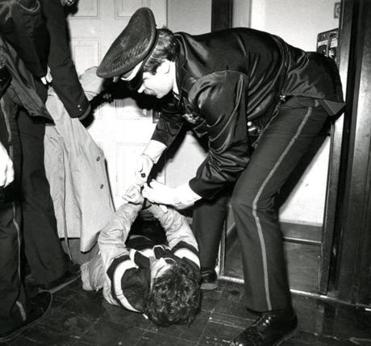 A demonstrator was taken into custody during the 1988 rally.