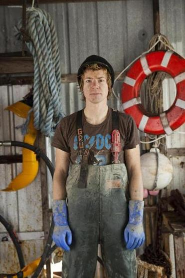 Mike Kersula works on the crew of the mussles barge in Maine.